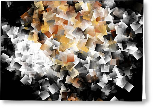Geometry In Orange Greeting Cards - Squares In The Multidimensional Scenery Greeting Card by Krzysztof Spieczonek