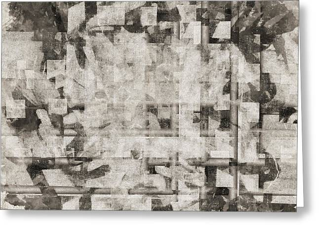 Monochrome Greeting Cards - Squares Squared Number 2 Greeting Card by Carol Leigh