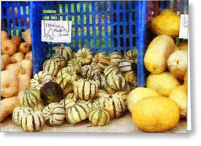 Farmers Markets Greeting Cards - Squash at Farmers Market Greeting Card by Susan Savad
