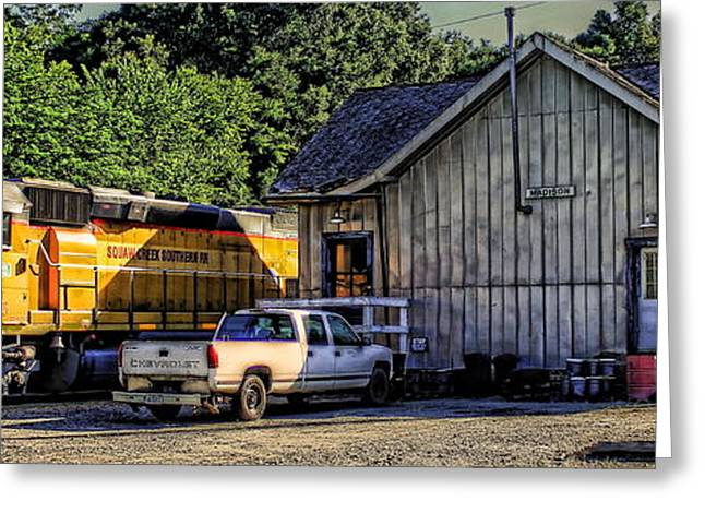 Chevrolet Pickup Greeting Cards - Squaw Creek Southern Locomotive in Madison Greeting Card by Reid Callaway