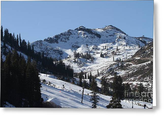 Snow Boarding Greeting Cards - Squaw Valley USA Ski Slopes 7D27771 Greeting Card by Wingsdomain Art and Photography
