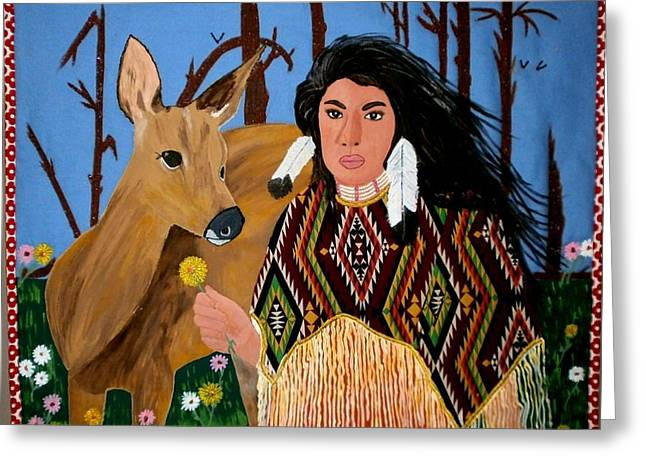 Wall Hanging Quilt Tapestries - Textiles Greeting Cards - Squaw with Deer Greeting Card by Linda Egland
