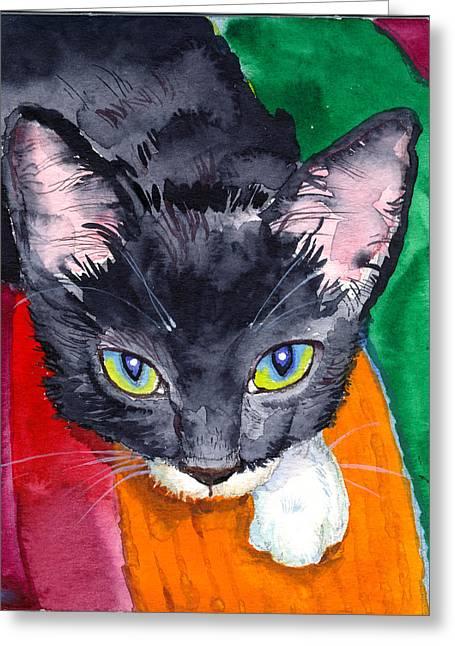 John Stewart Greeting Cards - Squeak The Wonder Cat Greeting Card by John Norman Stewart