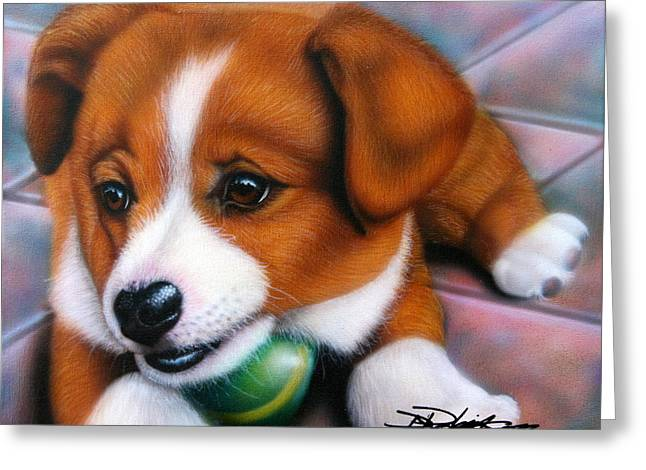 Puppies Paintings Greeting Cards - Squeaker Greeting Card by Darren Robinson