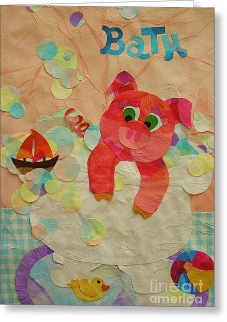 Piglets Mixed Media Greeting Cards - Squeaky Clean Greeting Card by Diane  Miller