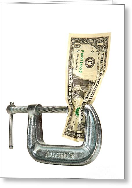Clamps Greeting Cards - Squeezing the Dollar Greeting Card by Olivier Le Queinec