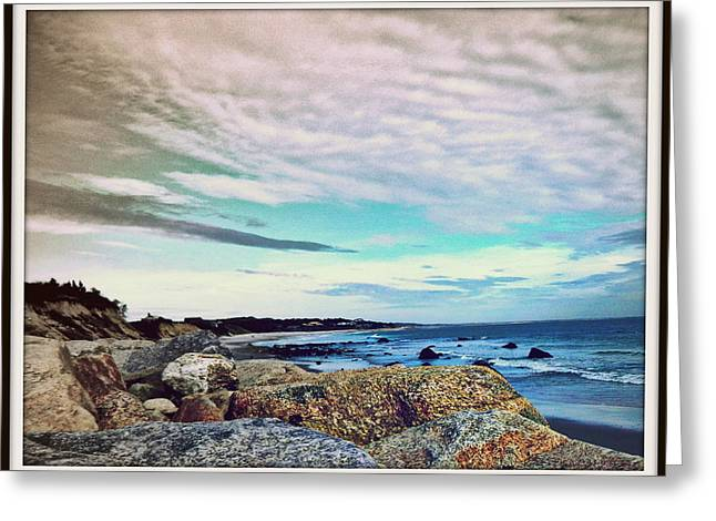 Focal Color Art Greeting Cards - Squibby Cliffs and Mackerel Sky Greeting Card by Kathy Barney