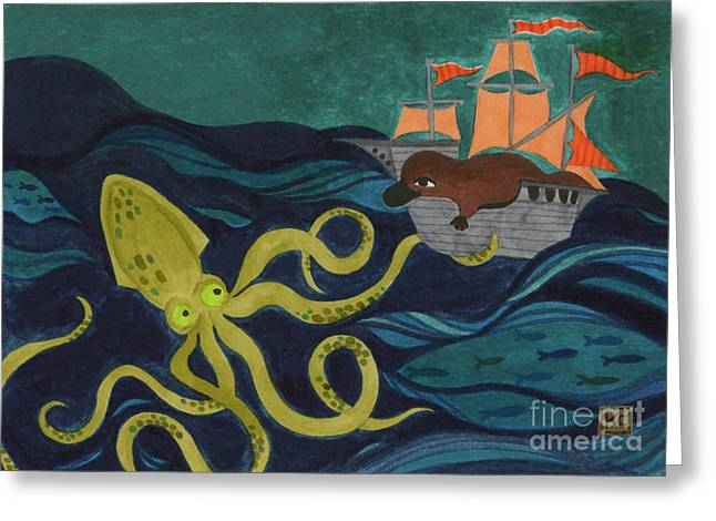 Pirate Ships Drawings Greeting Cards - Squid VS Platypus Greeting Card by Kate Cosgrove