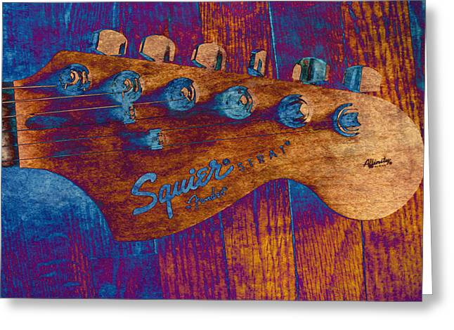 Playing Musical Instruments Greeting Cards - Squier Strat Greeting Card by Deena Stoddard
