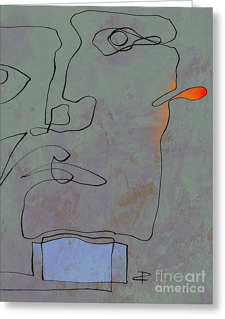 Muted Drawings Greeting Cards - Squigglehead with blue scarf and red ear  Greeting Card by Paul Davenport