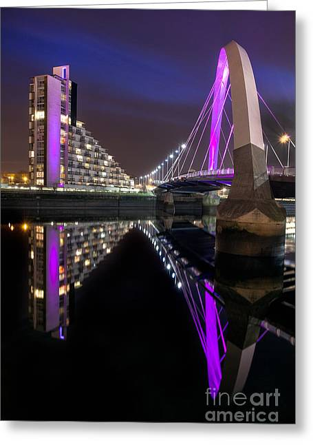 Night Scene Prints Greeting Cards - Squinty Bridge Glasgow Greeting Card by John Farnan