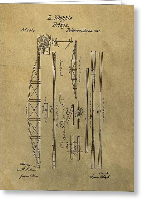 Tension Mixed Media Greeting Cards - Squire Whipple Truss Bridge Patent Greeting Card by Dan Sproul