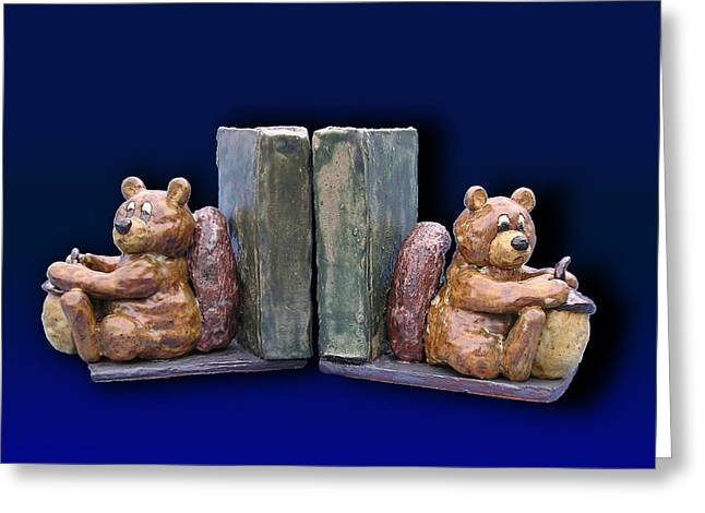 Book Ceramics Greeting Cards - Squirrel Bookends Greeting Card by Jeanette K