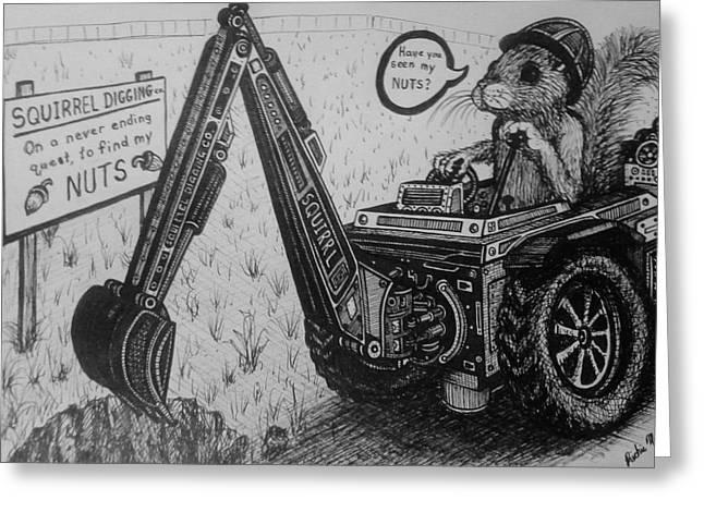 Richie Montgomery Greeting Cards - Squirrel Digging Co. Greeting Card by Richie Montgomery