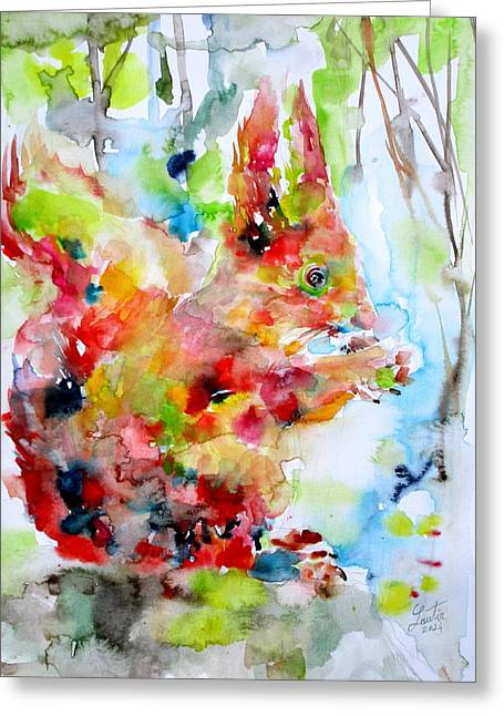 Fox Squirrel Paintings Greeting Cards - Squirrel Eating Greeting Card by Fabrizio Cassetta