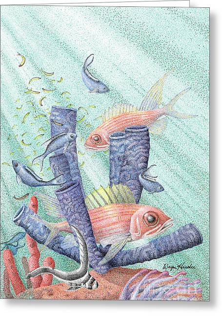 Wild Life Drawings Greeting Cards - Squirrel Fish Reef Greeting Card by Wayne Hardee