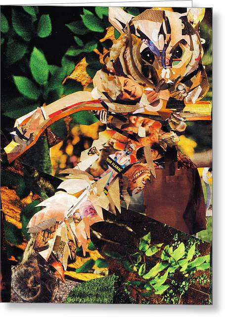 Quirky Mixed Media Greeting Cards - Squirrel Glider Collage Greeting Card by Shawna  Rowe