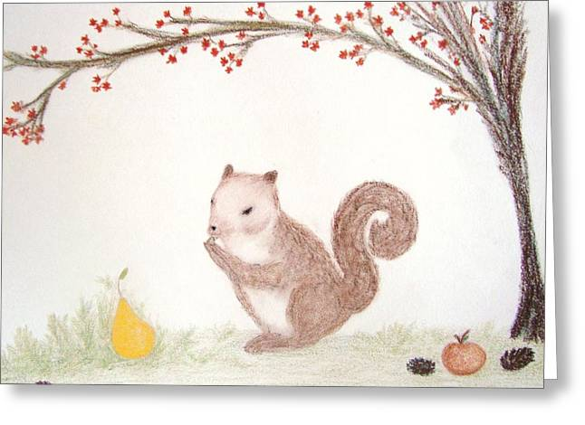 Pine Cones Pastels Greeting Cards - Squirrel in an Autumn Landscape Greeting Card by Christine Corretti