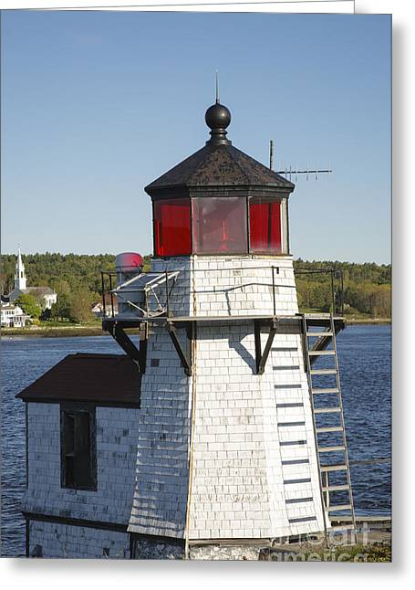 Maine Lighthouses Greeting Cards - Squirrel Point Light - Arrowsic Island Maine Greeting Card by Erin Paul Donovan