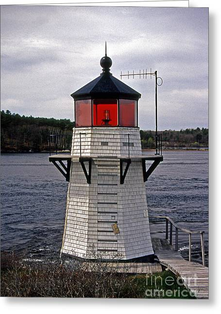 Maine Beach Greeting Cards - Squirrel Point Light Greeting Card by Skip Willits