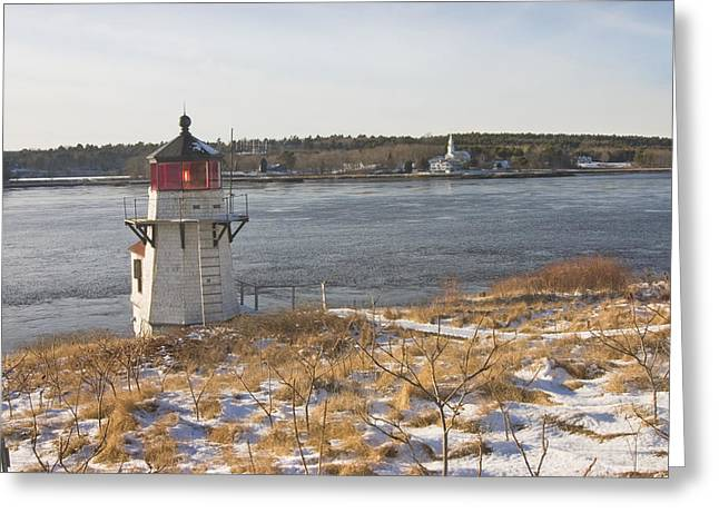 Squirrel Point Lighthouse Kennebec River Maine Greeting Card by Keith Webber Jr