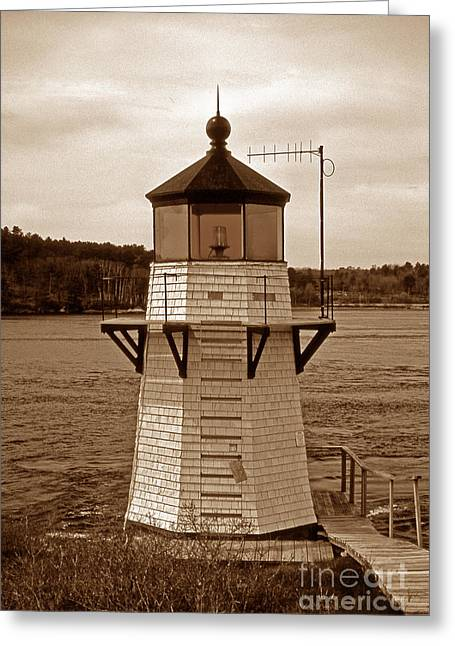 Maine Lighthouses Greeting Cards - Squirrel Point Sepia Greeting Card by Skip Willits
