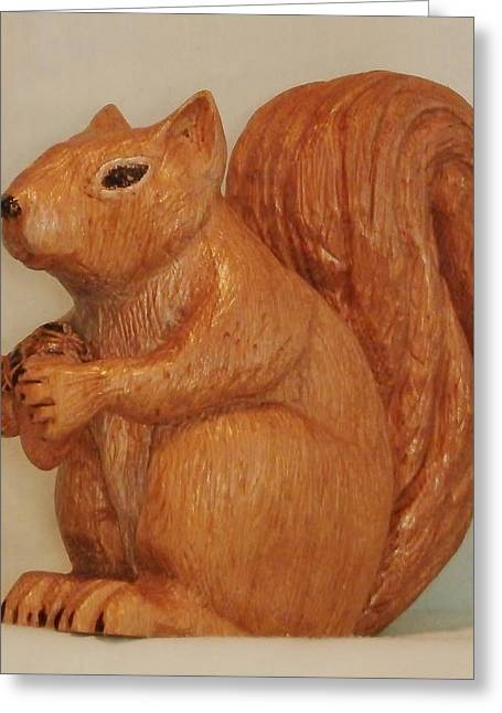 Woodcarving Sculptures Greeting Cards - Squirrel Greeting Card by Russell Ellingsworth
