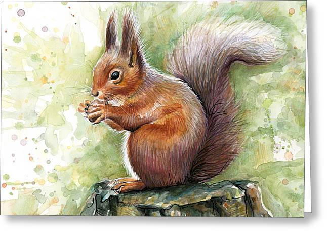 Kids Mixed Media Greeting Cards - Squirrel Watercolor Art Greeting Card by Olga Shvartsur