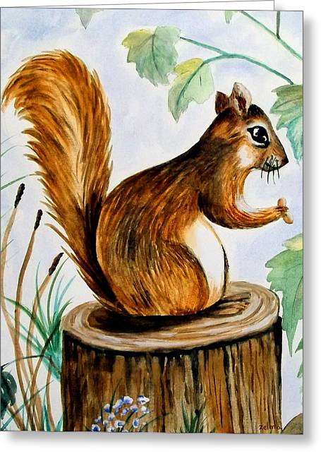 Zelma Hensel Greeting Cards - Squirrel Greeting Card by Zelma Hensel