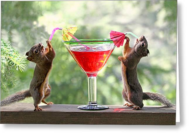 Daiquiri Greeting Cards - Squirrels at Cocktail Hour Greeting Card by Peggy Collins