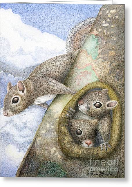 Pen Greeting Cards - Squirrels Greeting Card by Wayne Hardee