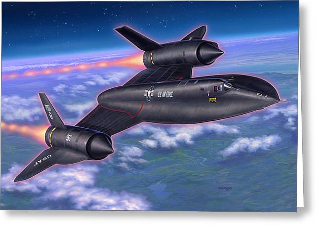 Blackbirds Greeting Cards - SR-71 Blackbird Greeting Card by Stu Shepherd