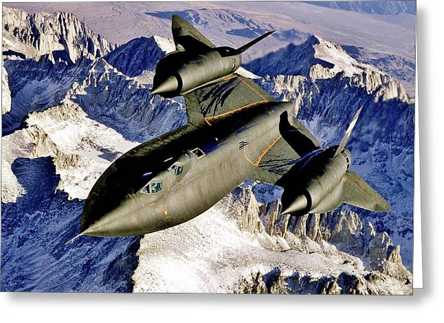 Air Craft Greeting Cards - SR-71 Over The Sierras Greeting Card by Benjamin Yeager