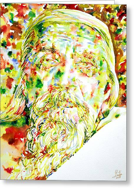 Ghose Greeting Cards - Sri Aurobindo Greeting Card by Fabrizio Cassetta
