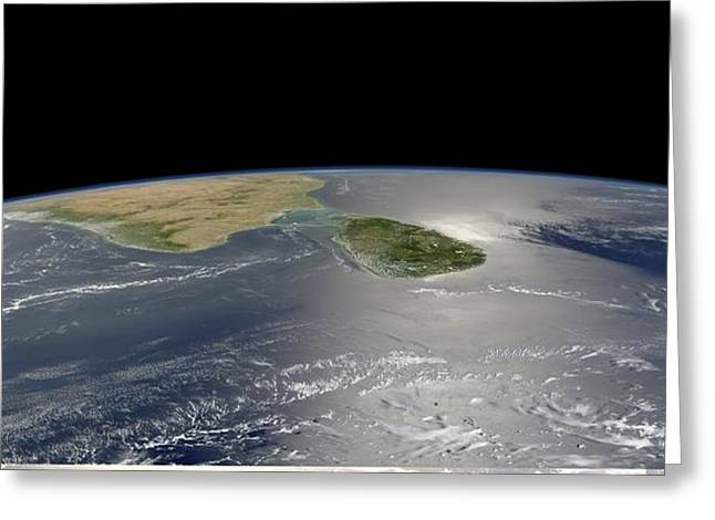 Ceylon Greeting Cards - Sri Lanka, satellite image Greeting Card by Science Photo Library