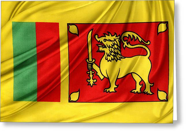 Waving Flag Greeting Cards - Sri Lankan flag Greeting Card by Les Cunliffe