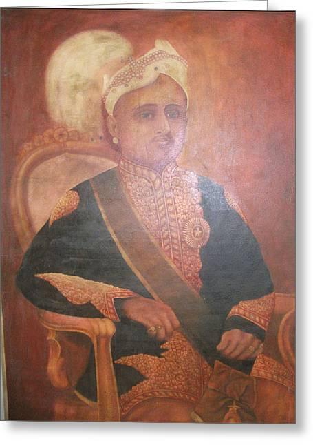 India Tapestries - Textiles Greeting Cards - Sri Mulam Thirunal Travancore Maharaja Greeting Card by E G Panicker