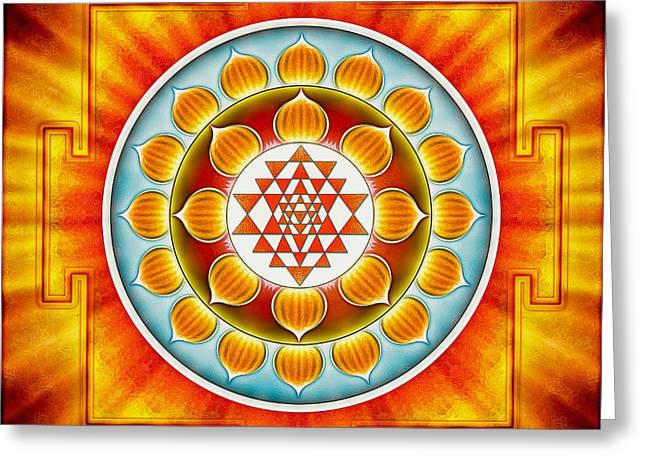 Sacral Greeting Cards - Sri Yantra Chakra Greeting Card by Dirk Czarnota