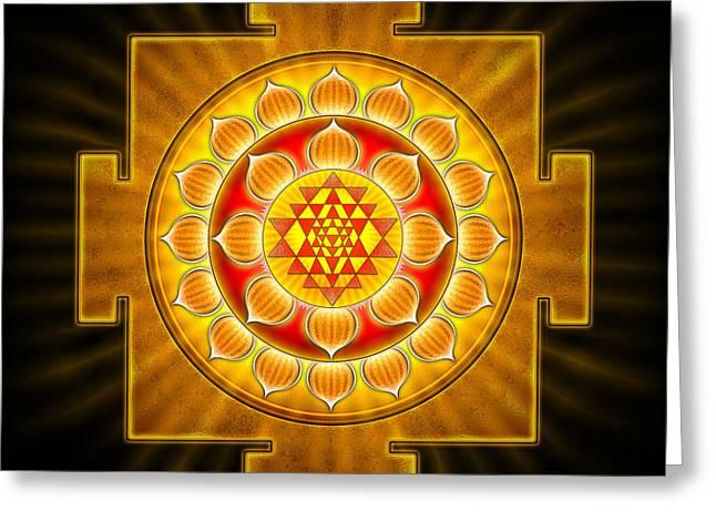 Sacral Greeting Cards - Sri Yantra Chakra II Greeting Card by Dirk Czarnota