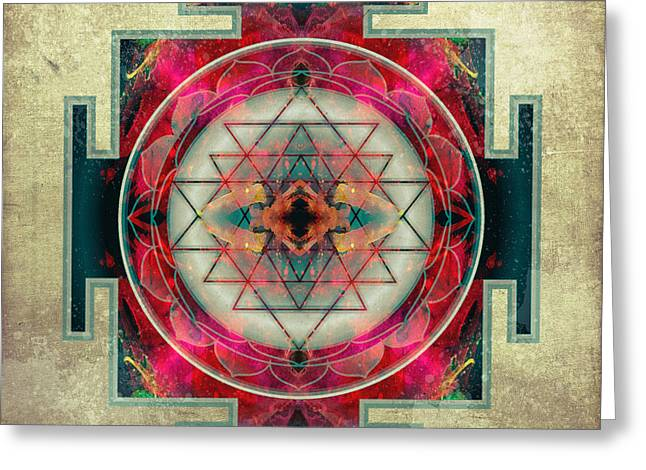 Flower Of Life Greeting Cards - Sri Yantra  Greeting Card by Filippo B