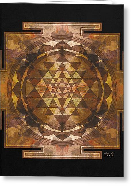 Afterlife Greeting Cards - Sri yantra gold Greeting Card by Filippo B