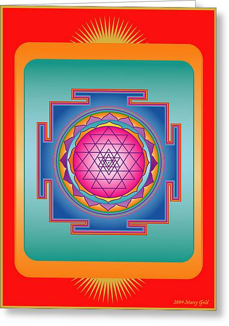 Centering Greeting Cards - Sri Yantra Greeting Card by Marcy Gold