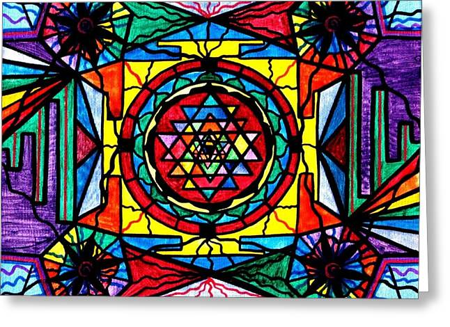 Spiritual Paintings Greeting Cards - Sri Yantra Greeting Card by Teal Eye  Print Store