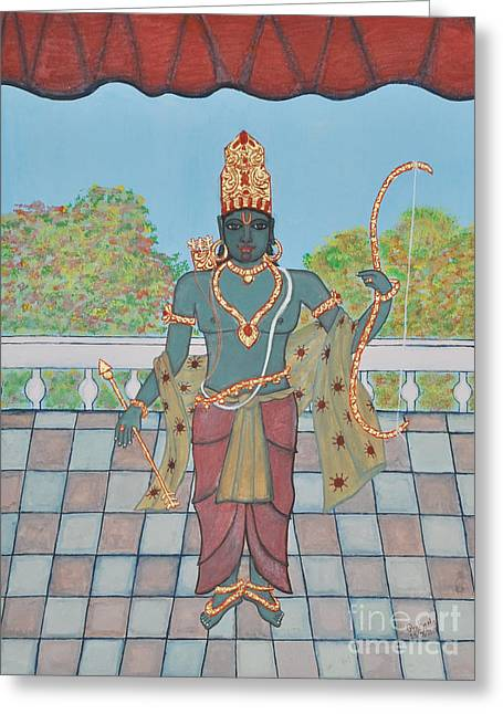 Incarnation Paintings Greeting Cards - SriRama Greeting Card by Pratyasha Nithin