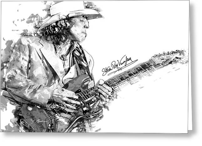 Guitar Art Greeting Cards - S.r.v. 1 Greeting Card by Gary Bodnar