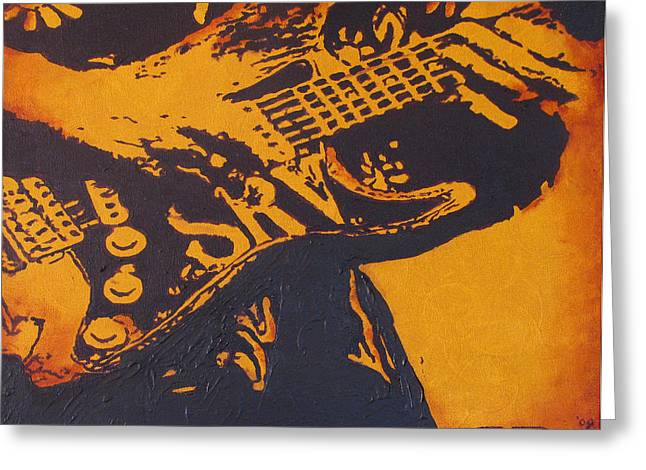 Stratocaster Drawings Greeting Cards - SRV  Number One Fender Stratocaster Greeting Card by Eric Dee