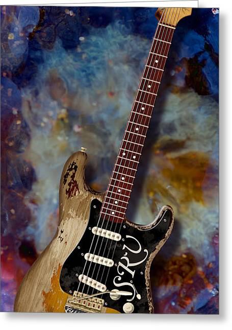 Wb Johnston Greeting Cards - S R V  Stratocaster Greeting Card by WB Johnston