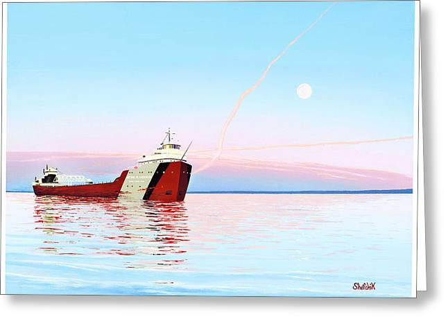 Lakers Paintings Greeting Cards - SS Arthur M. Anderson Greeting Card by Dan Shefchik