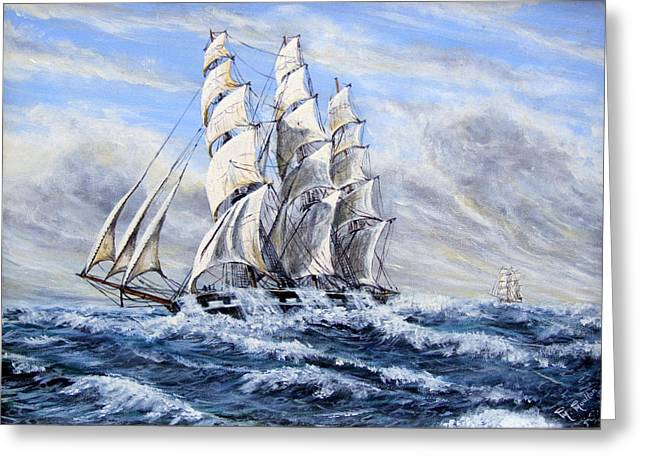 Square Rigger Greeting Cards - SS Duntrune 1875 Greeting Card by Mackenzie Moulton