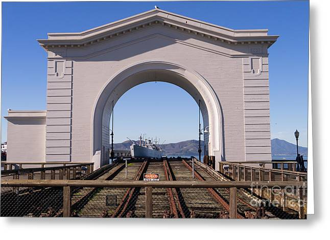 Fishermens Wharf Greeting Cards - SS Jeremiah O Brien Through Fishermans Wharf San Francisco California DSC2014 Greeting Card by Wingsdomain Art and Photography
